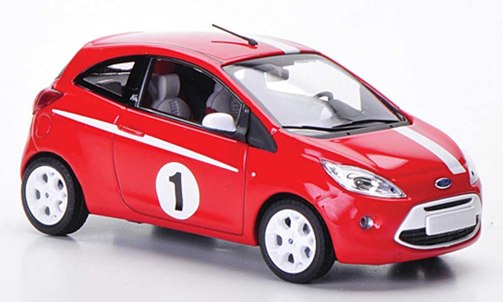ford ka miniature grand prix rouge blanche 2009 minichamps 1 43 voiture. Black Bedroom Furniture Sets. Home Design Ideas