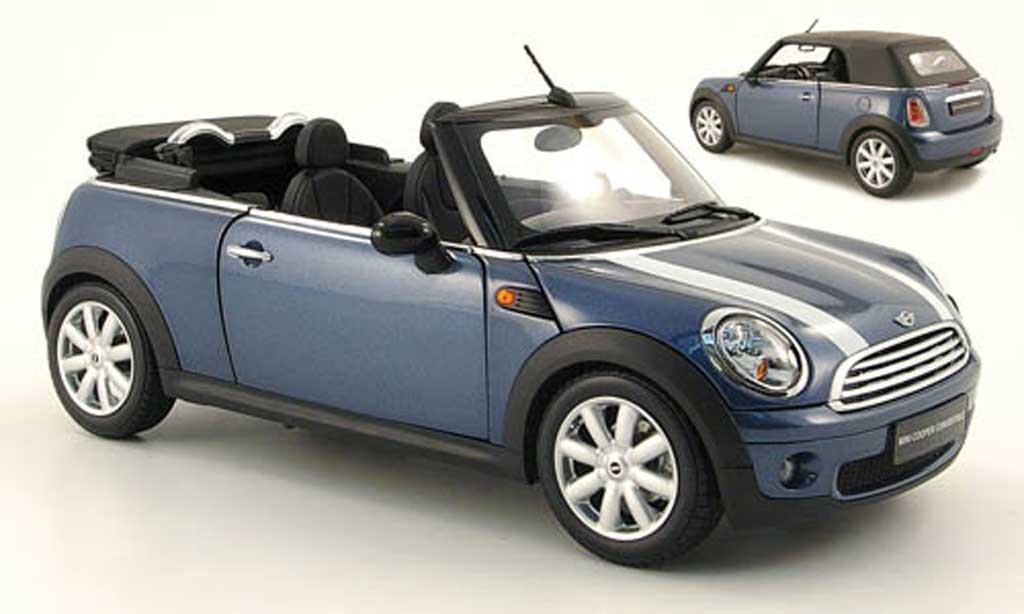 Mini Cabriolet 1/18 Kyosho bleu bandes blanches 2009 miniature