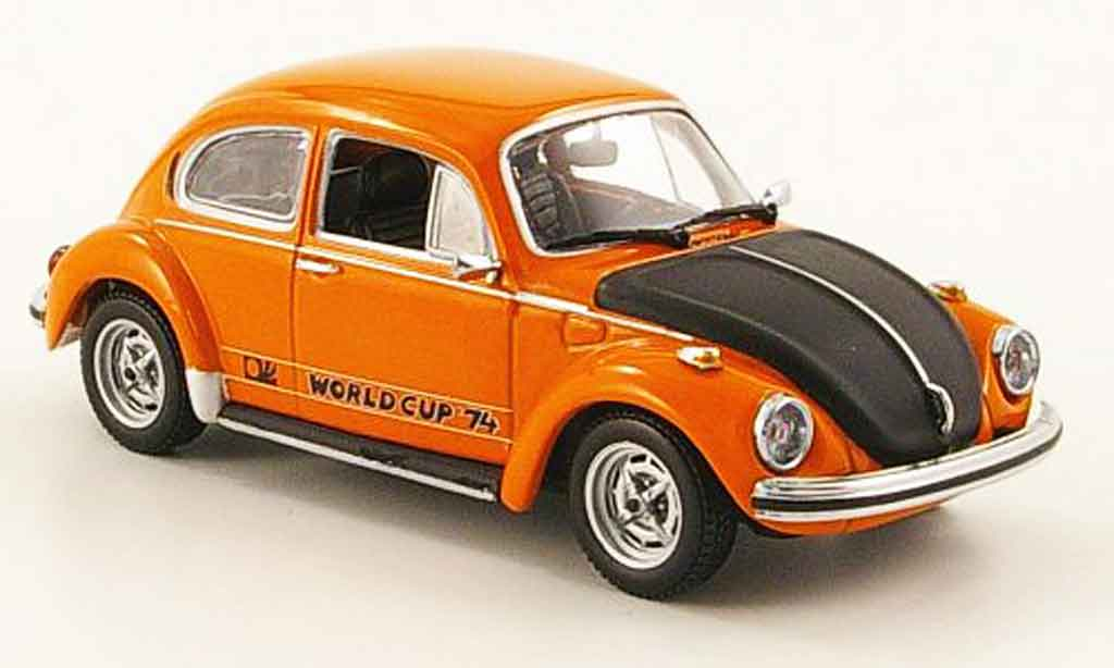 Volkswagen Coccinelle 1/43 Minichamps 1303 world cup orange noire 1974 miniature