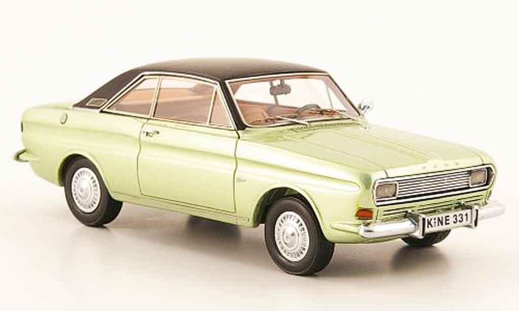 Ford Taunus 1968 1/43 Neo (P6) Coupe verte noire miniature