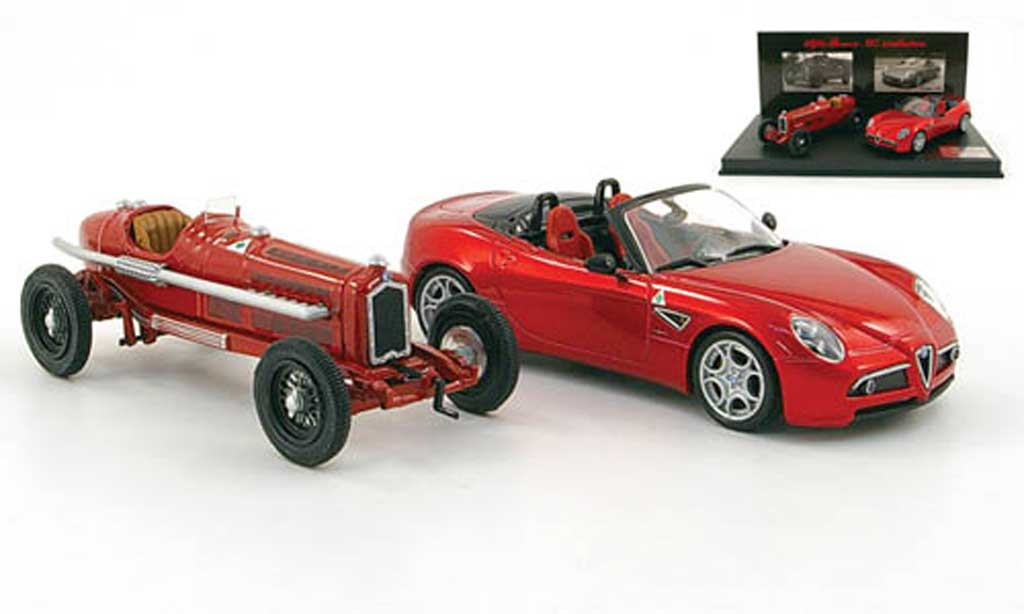 Alfa Romeo 8C 1/43 M4 Evolution-Set: P3 (1932) rouge + miniature