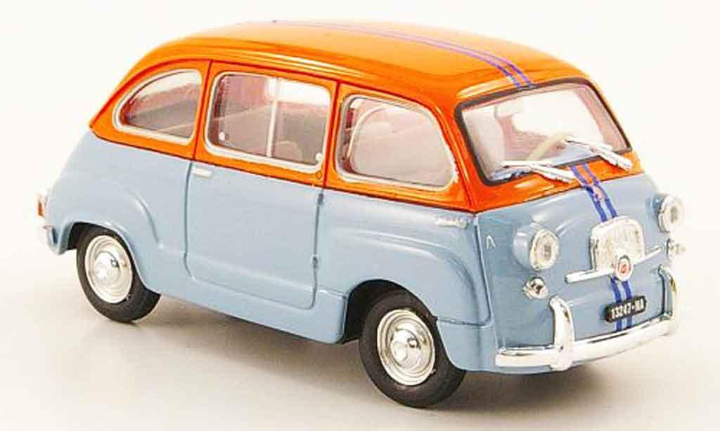 fiat 600 miniature d multipla bleu orange 1966 brumm 1 43 voiture. Black Bedroom Furniture Sets. Home Design Ideas