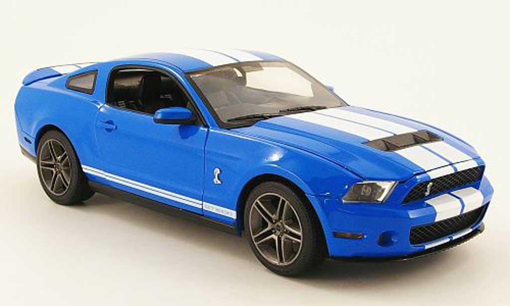 Shelby GT 500 1/18 Greenlight bleu avec blanche bandes 2010 miniature