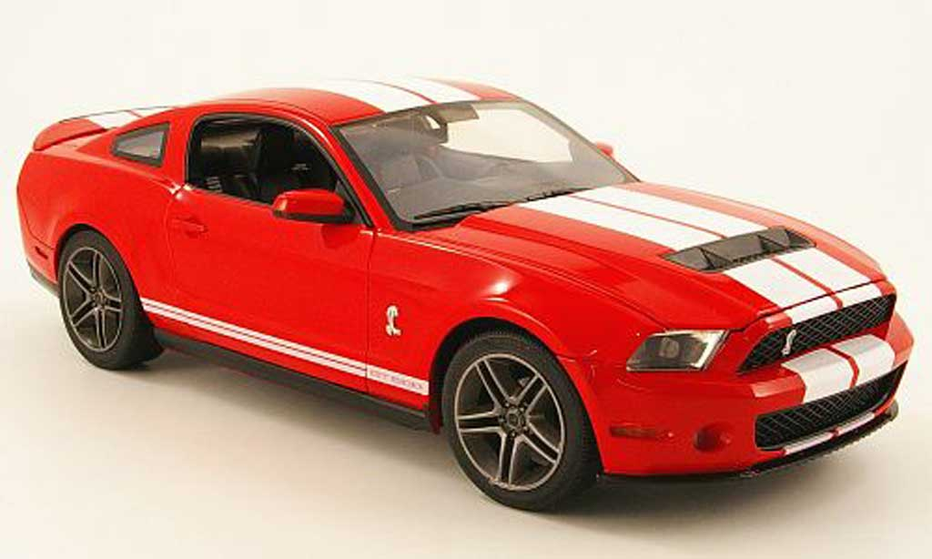 Shelby GT 500 1/18 Greenlight rouge avec blanche bandes 2010 miniature
