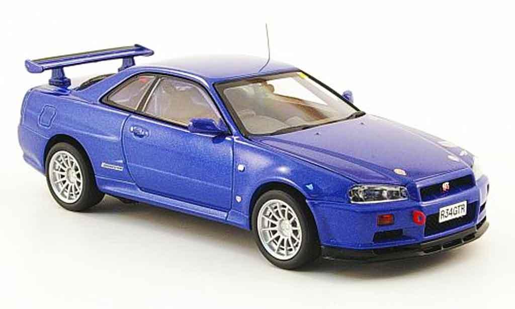Nissan Skyline R34 1/43 Kyosho GT R Gr.N bleu miniature