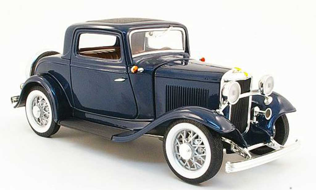 Ford Hot Rod 1/18 Yat Ming 3 window coupe bleu 1932 modellino in miniatura