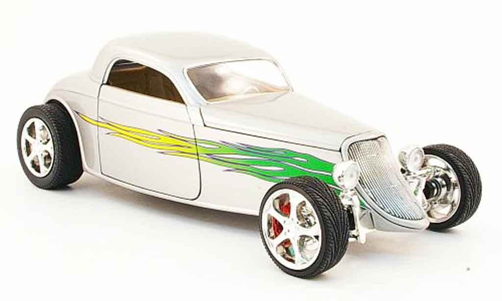 Ford Hot Rod 1/18 Yat Ming coupe grey avec flammendekor 1933 diecast model cars