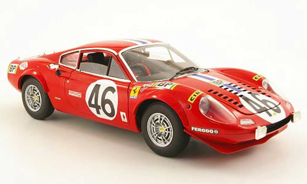 Ferrari 246 1/18 Hot Wheels dino gt no.46 nart 24h le mans 1972 miniature