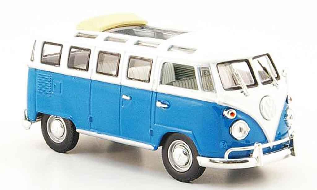Volkswagen Combi 1/43 Yat Ming t1 samba bleu blanche 1962 miniature
