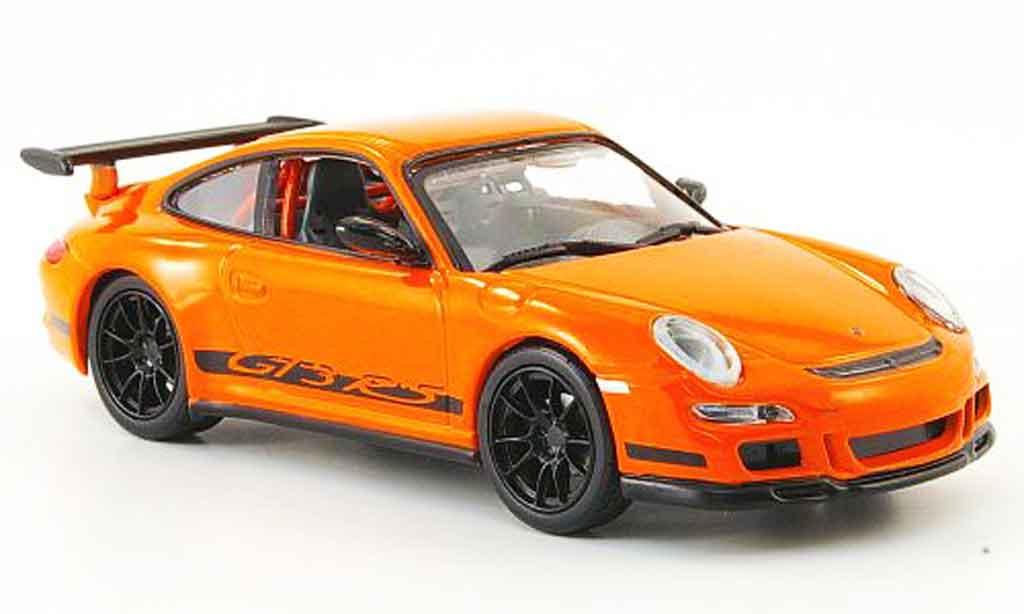 Porsche 997 GT3 RS 1/43 Yat Ming orange avec noireen Streifen miniature