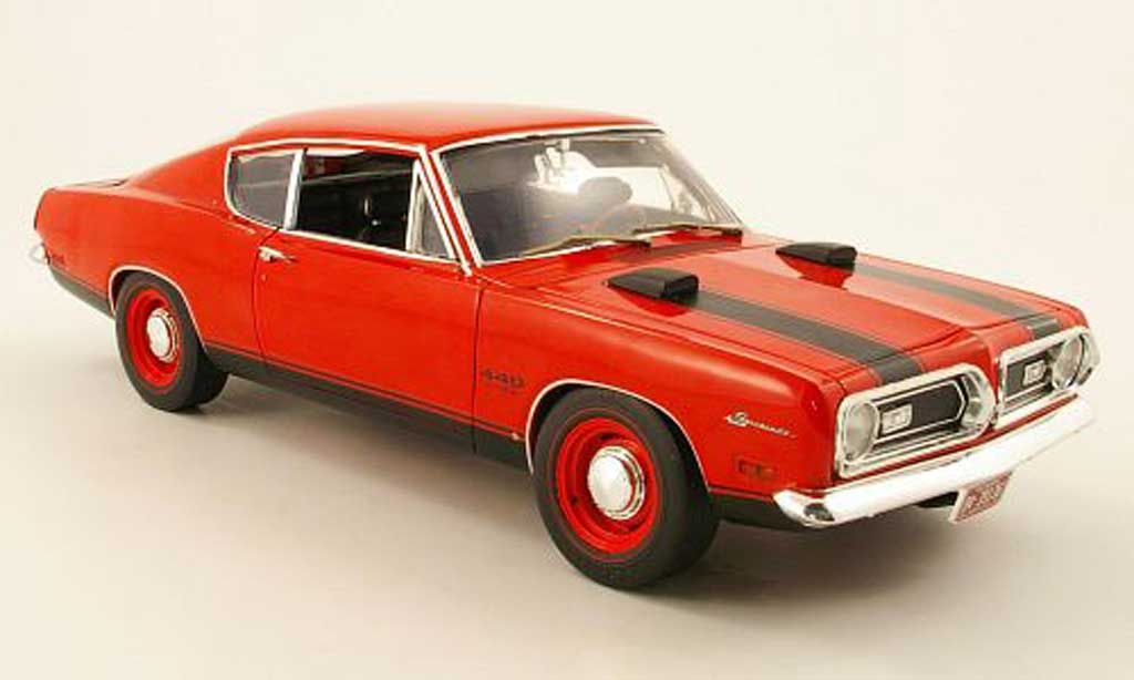 Plymouth Barracuda 1969 1/18 Highway 61 1969 440 rouge miniature