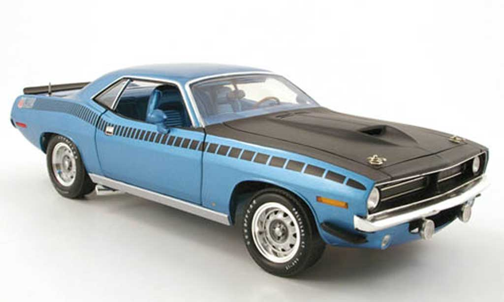 Plymouth Cuda 1970 1/18 Highway 61 aar bleu miniature