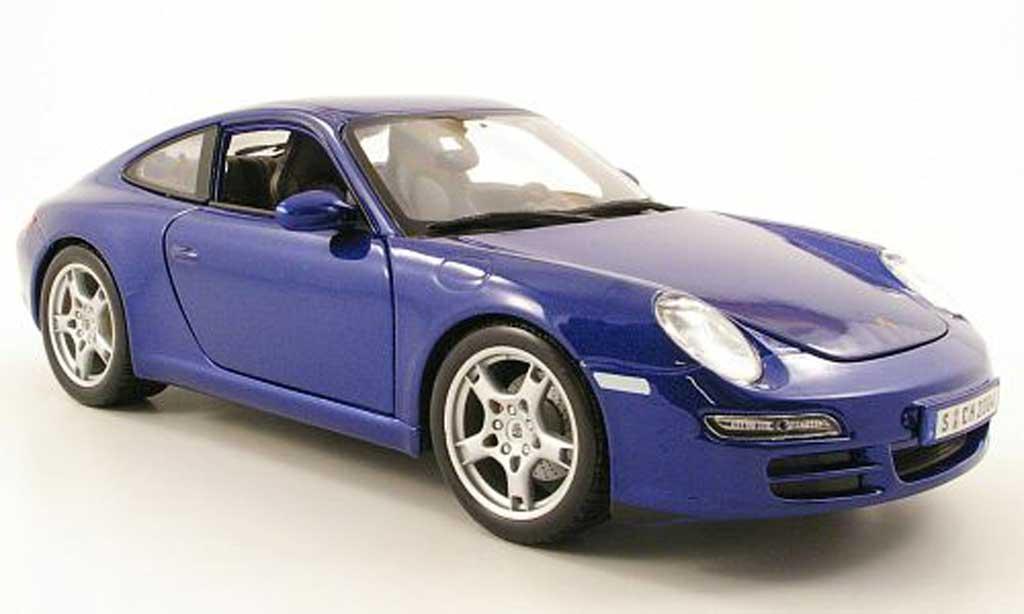 Porsche 997 S 1/18 Maisto Carrera bleu miniature
