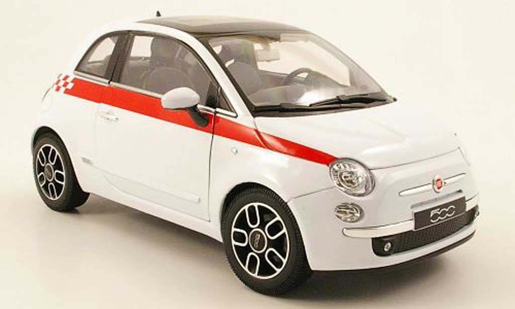 Fiat 500 1/18 Welly blanche bandes rouge 2007 miniature
