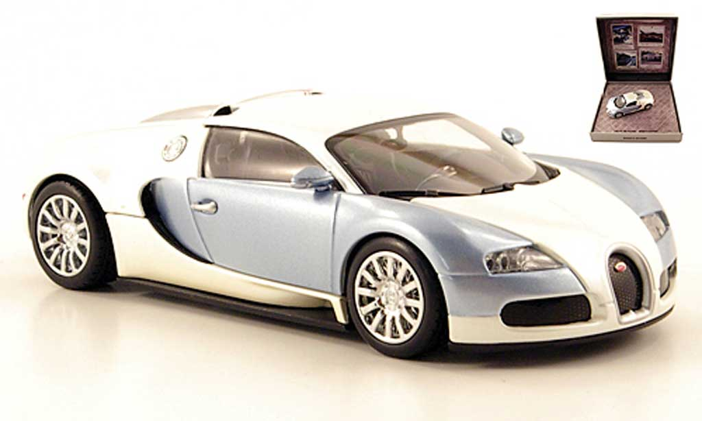 Bugatti Veyron 16.4 1/43 Minichamps blanche/grise bleu 2009 miniature