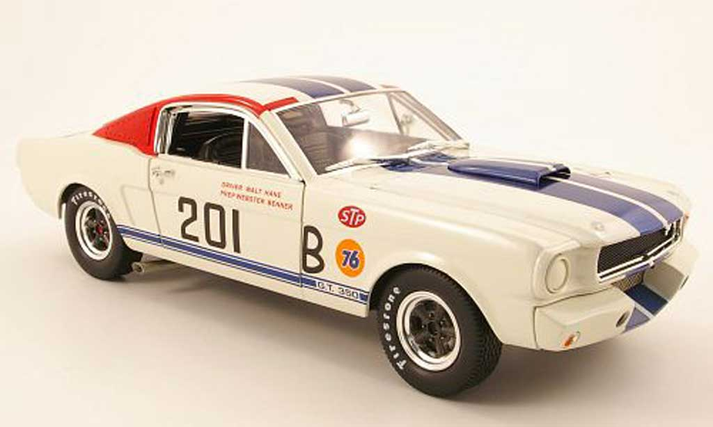 Shelby GT 350 1966 1/18 Shelby Collectibles r no.201 blanche/bleu miniature