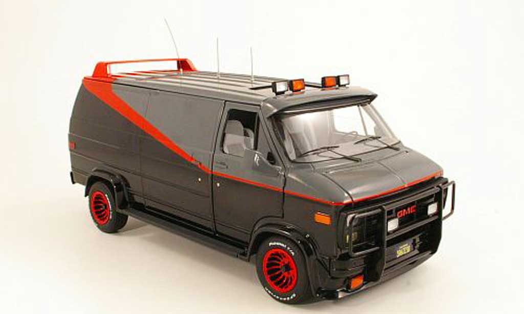 GMC Panel Van 1/18 Hot Wheels Elite A-Team nero/grigia/rosso 1983 miniatura