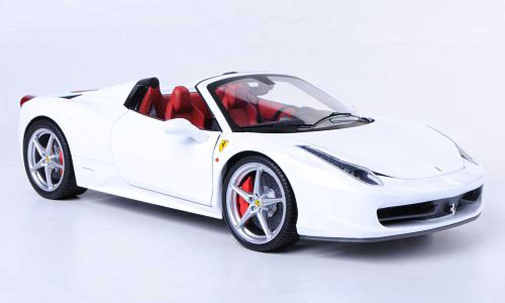 Ferrari 458 Italia Spider 1/18 Hot Wheels Elite blanche (Elite) miniature