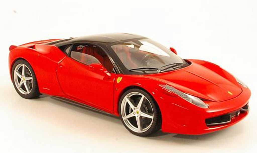 Ferrari 458 Italia 1/18 Hot Wheels Elite Italia rouge/noire miniature