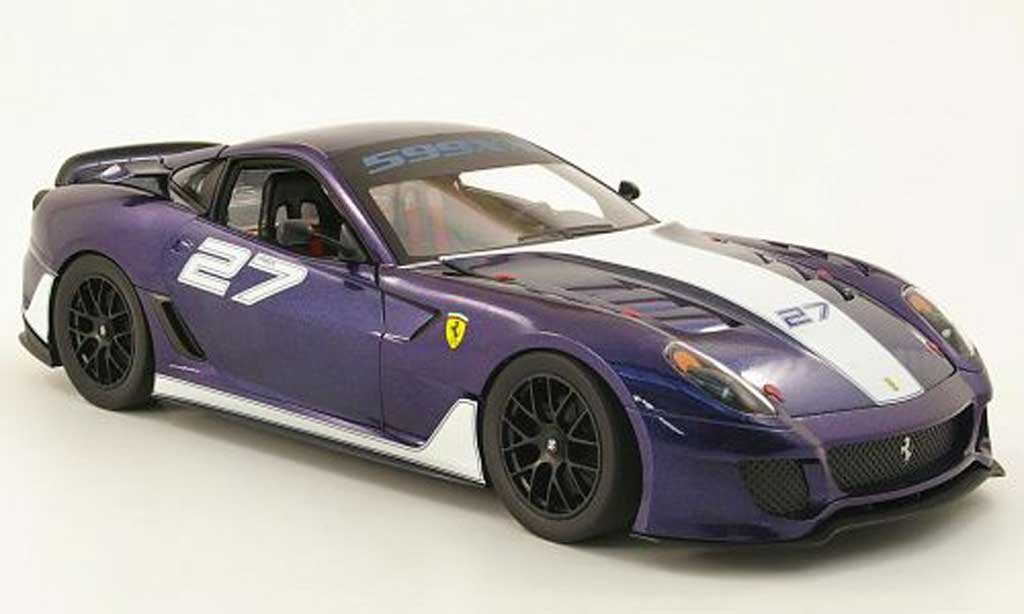 Ferrari 599 XX 1/18 Hot Wheels no.27 bleu/blanche miniature