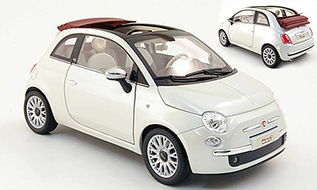 Fiat 500 C 1/18 Norev white/red 2009 diecast model cars