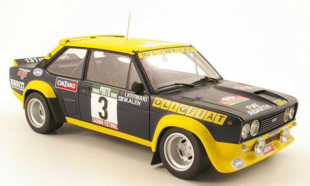 Fiat 131 Abarth 1/18 Kyosho no3 oliofiat rallye portugal 1977 malen / ikivimaki miniatura