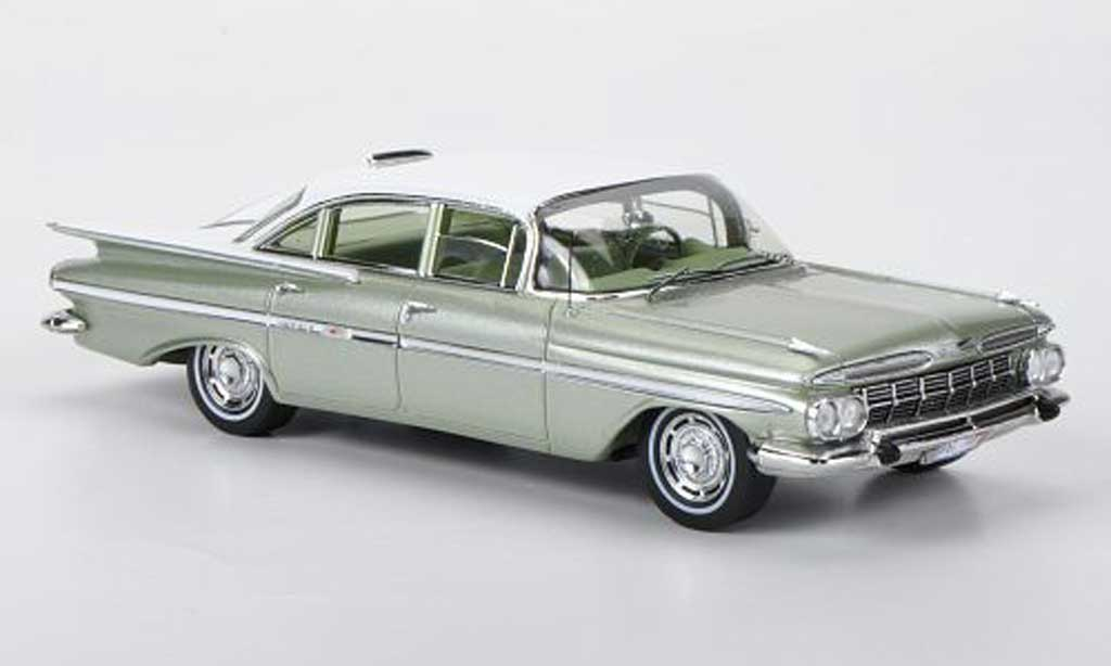 Chevrolet Impala 1959 1/43 Spark Six Window Sedan grisegrun/blanche miniature