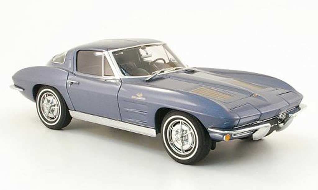 Chevrolet Corvette C2 1/18 Autoart coupe grey bleu 1963 diecast model cars