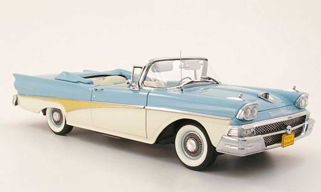 Ford Fairlane 1958 1/18 Sun Star 500 convertible bleu/blanche/or miniature