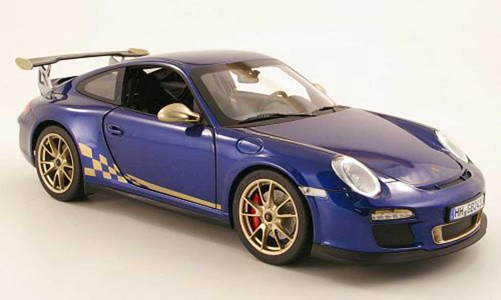 Porsche 997 GT3 RS 1/18 Norev 2010 bleu/beige miniature