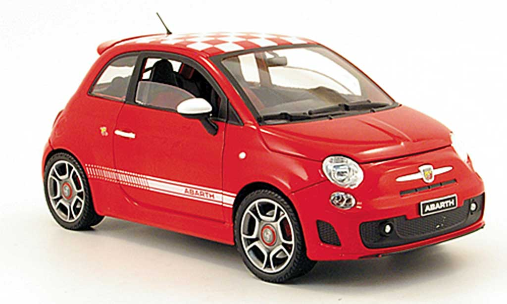 fiat 500 abarth rojo mit blancokariertem dach 2008 mondo motors coches miniaturas 1 18 comprar. Black Bedroom Furniture Sets. Home Design Ideas