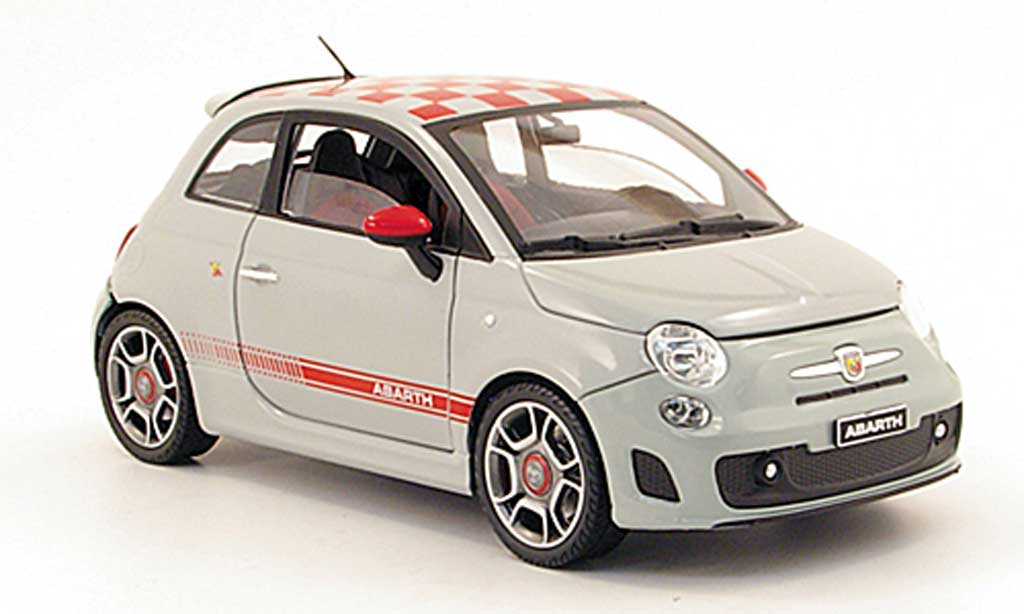 fiat 500 abarth miniature grise mit rougekariertem dach 2008 mondo motors 1 18 voiture. Black Bedroom Furniture Sets. Home Design Ideas