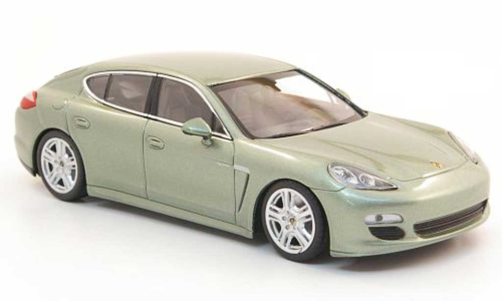 porsche panamera miniature s hybrid griseverte 2010 minichamps 1 43 voiture. Black Bedroom Furniture Sets. Home Design Ideas