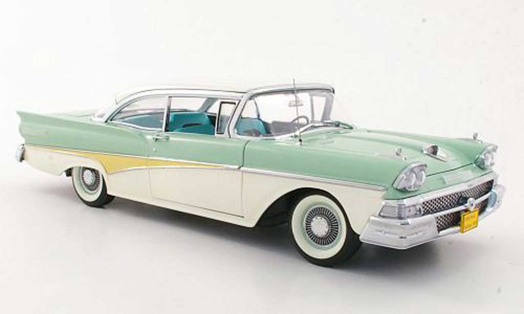 Ford Fairlane 1958 1/18 Sun Star 500 Hardtop grise verte/blanche miniature
