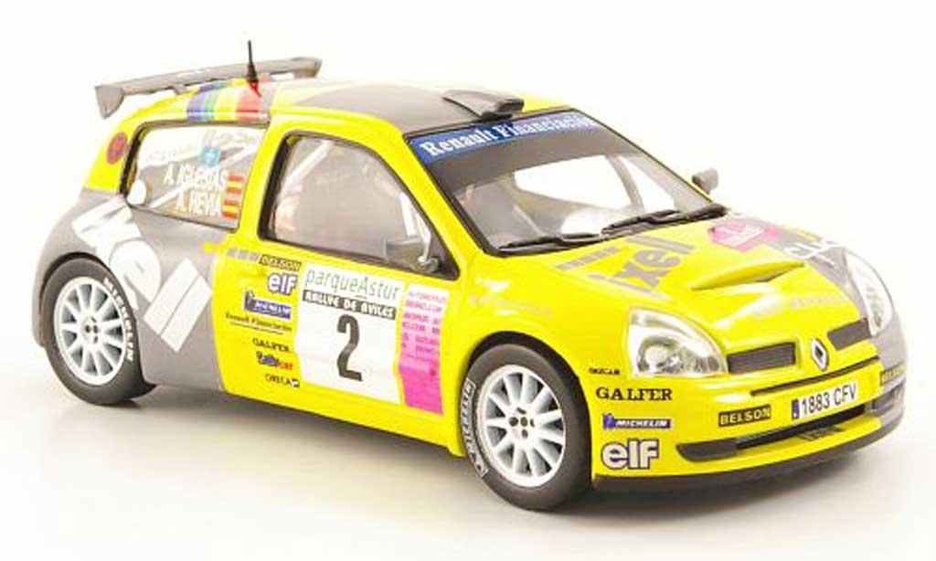 Renault Clio S1600 1/43 Hachette No.2 Ixell Rally de Aviles 2004 miniatura