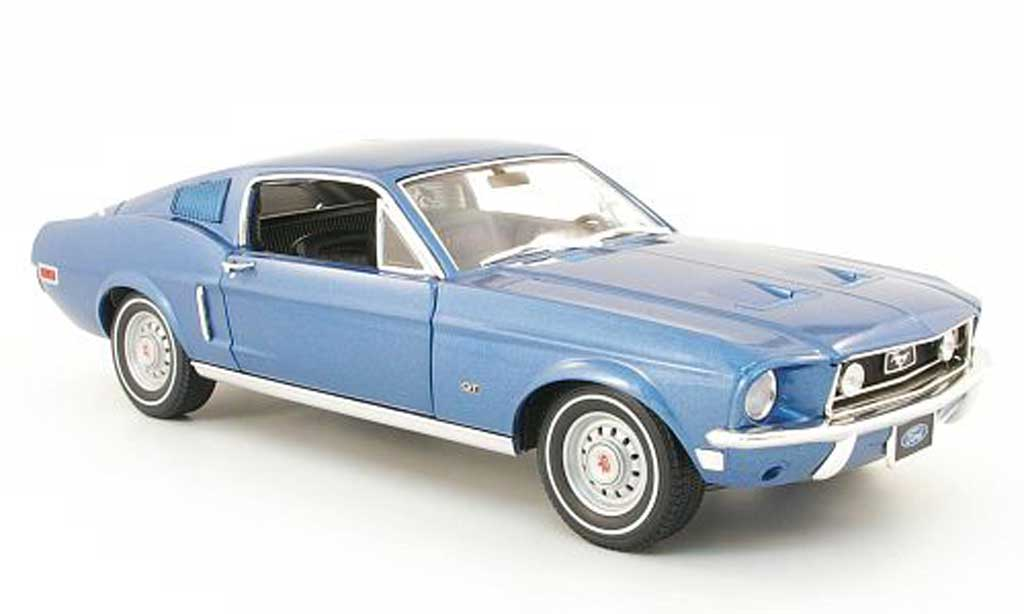 Ford Mustang 1968 1/18 Greenlight gt 2+2 fastback bleu miniature