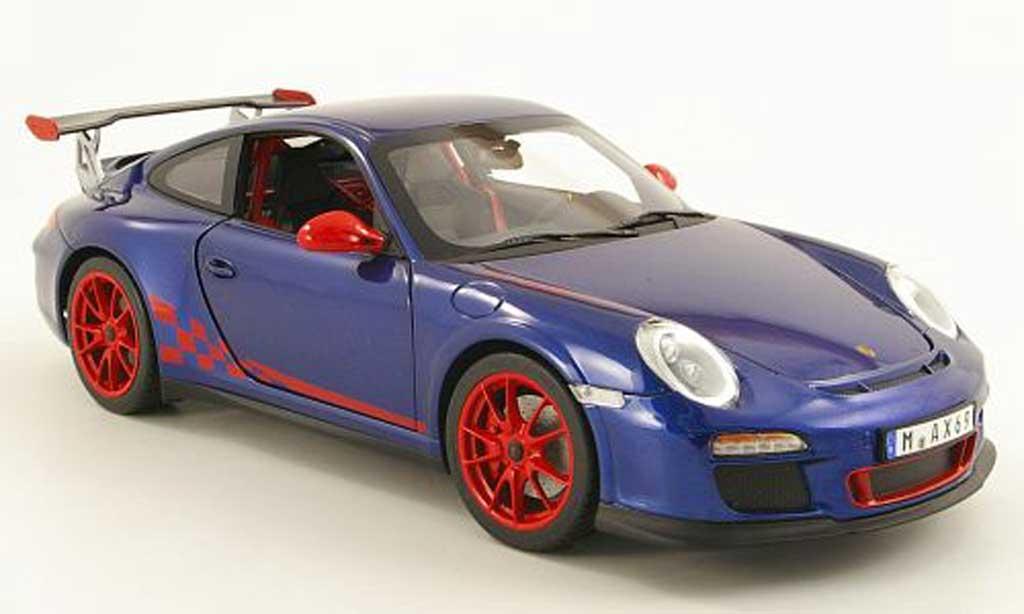 Porsche 997 GT3 RS 1/18 Norev 2010 bleu/rouge miniature
