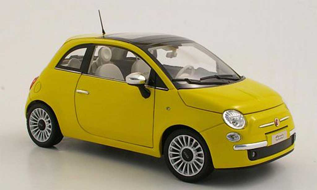 fiat 500 c miniature lounge jaune 2007 norev 1 18 voiture. Black Bedroom Furniture Sets. Home Design Ideas