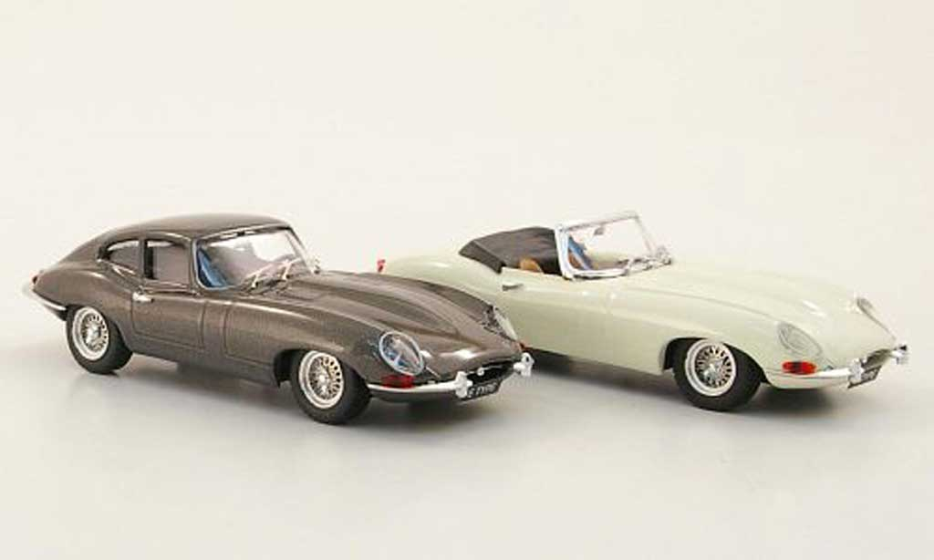 Jaguar E-Type 1961 1/43 Best 1961 Jubilaums-Set: Roadster blanche und Coupe grise Autosalon Paris miniature