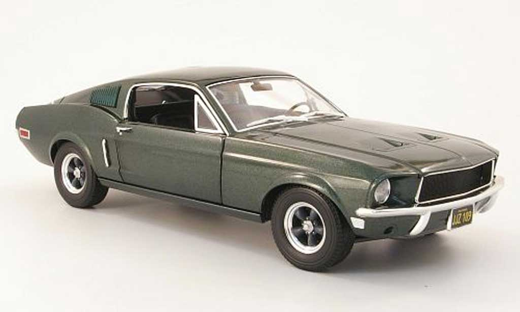 Ford Mustang Bullit Mc Queen 1/18 Greenlight gt verte 1968 miniature