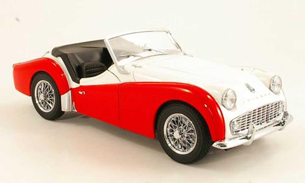 Triumph TR3 A 1/18 Kyosho blanche/rouge RHD mit Beifahrerabdeckung miniature