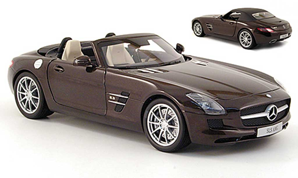 Mercedes SLS roadster 1/18 Minichamps amg (r197) marron 2011 miniature