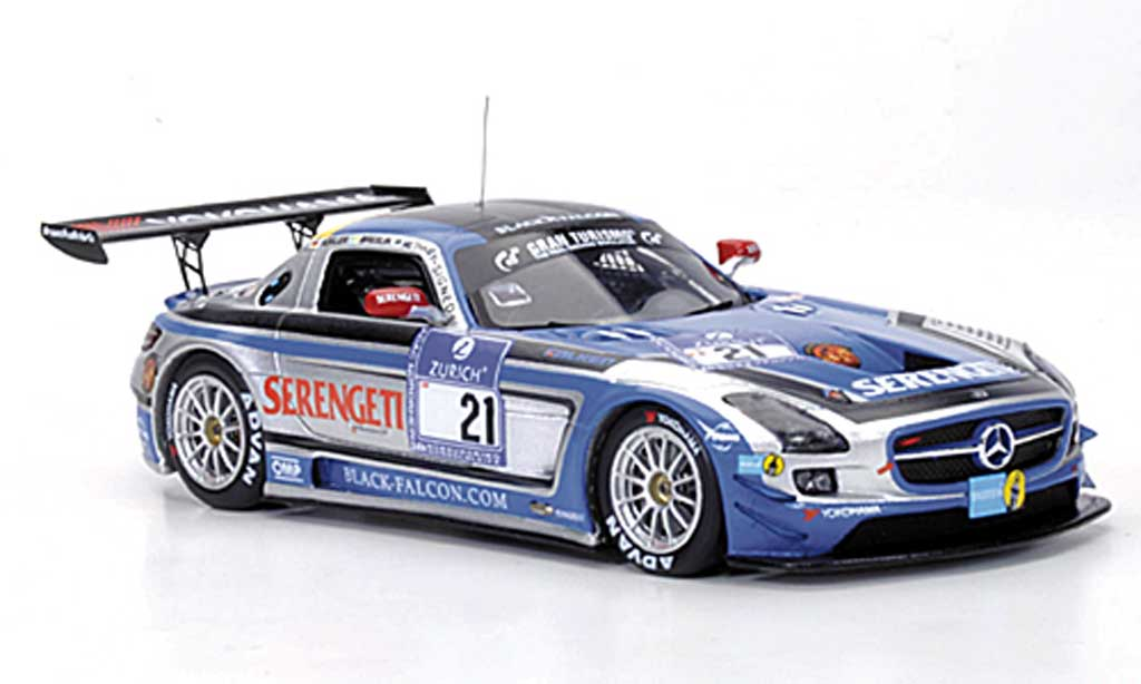 Mercedes SLS 1/43 Minichamps AMG GT3 No.21 Team Black Falcon Metha / Breslin / Breslin / Rosler 24h Nurburgring 2011 miniature