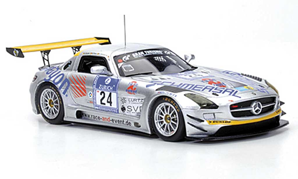 Mercedes SLS 1/43 Minichamps AMG GT3 No.24 Race & Event Tiger / Geulen / Schmersal / Frers 24h ADAC Nurburgring 2011 miniature