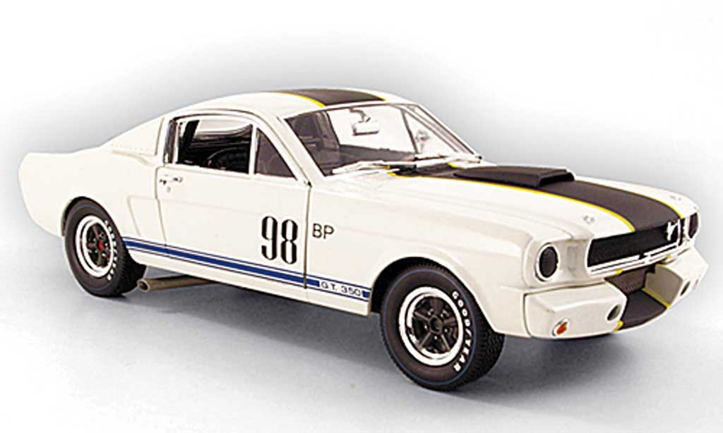 Shelby GT 350 1965 1/18 Shelby Collectibles r no.98 bp blanche/noire miniature