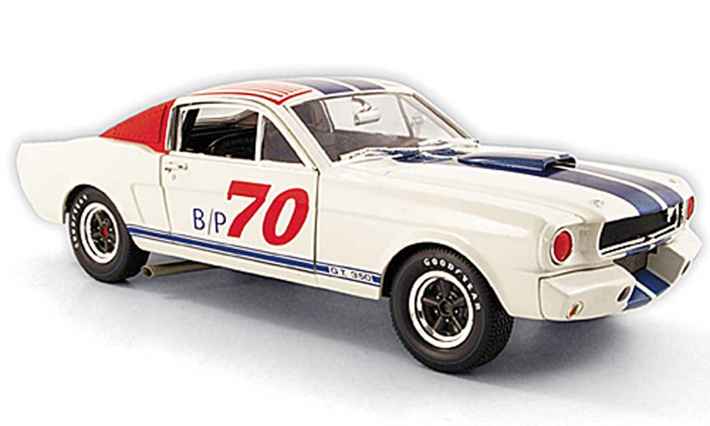 Shelby GT 350 1965 1/18 Shelby Collectibles r no.70 bp blanche/rouge/bleu miniature