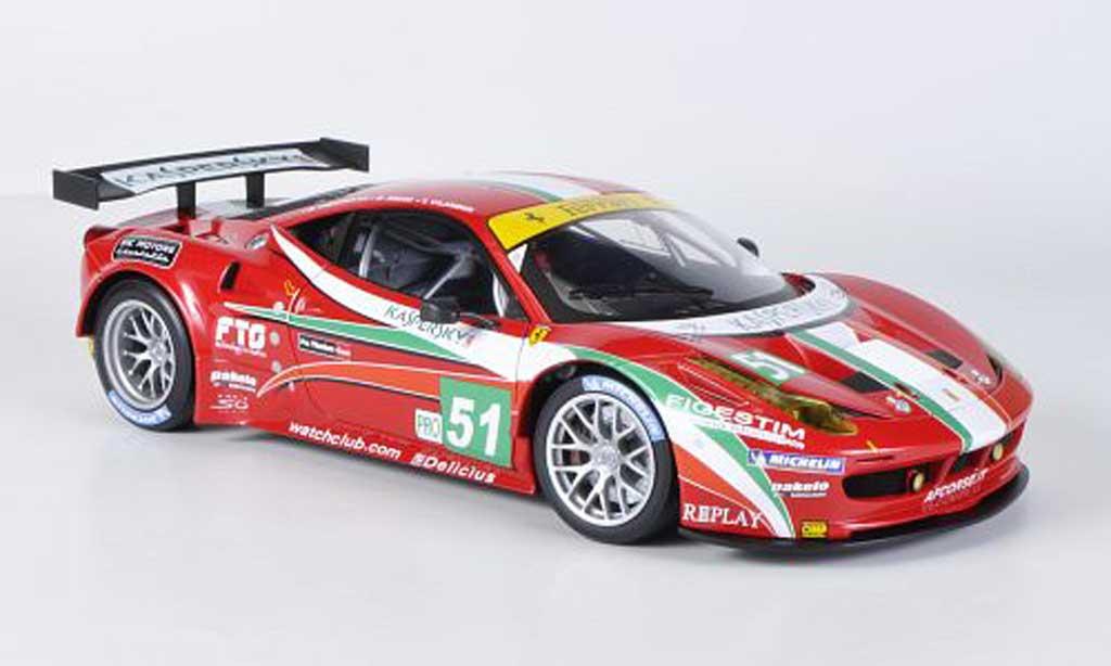 Ferrari 458 Italia GT2 1/18 Hot Wheels Elite No.51 AF Corse 24h Le Mans (Elite) 2011 Fisica/Bruni/Vilander modellino in miniatura