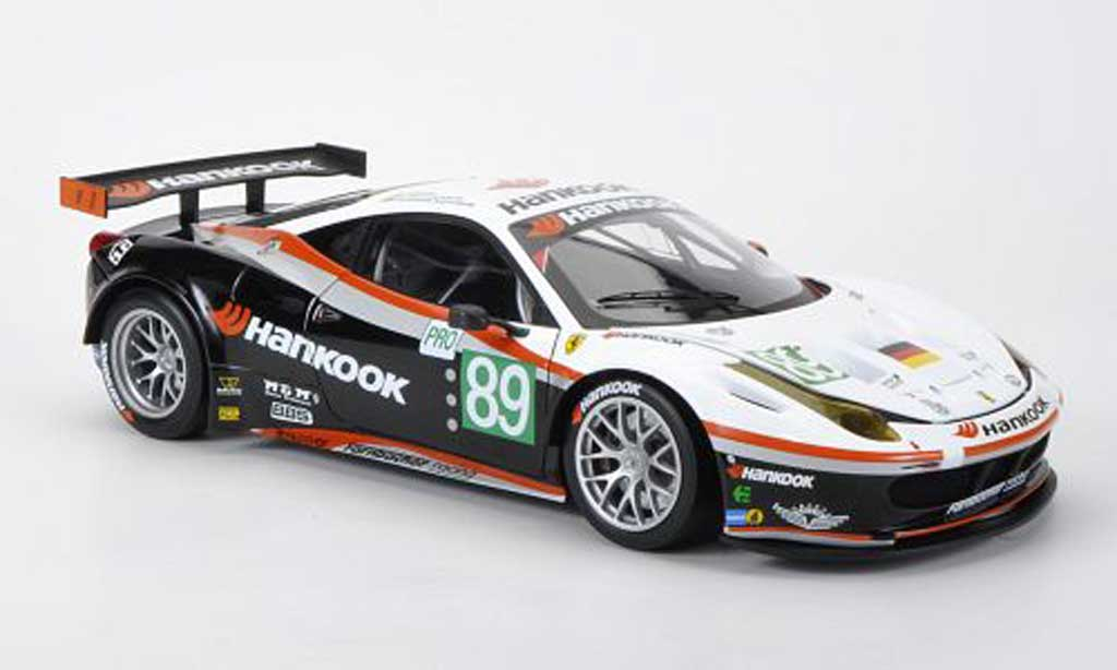 Ferrari 458 Italia GT2 1/18 Hot Wheels Elite No.89 Farnbacher Racing Hankook Farnbacher / Simonsen / Keen 24h Le Mans 2011 miniatura