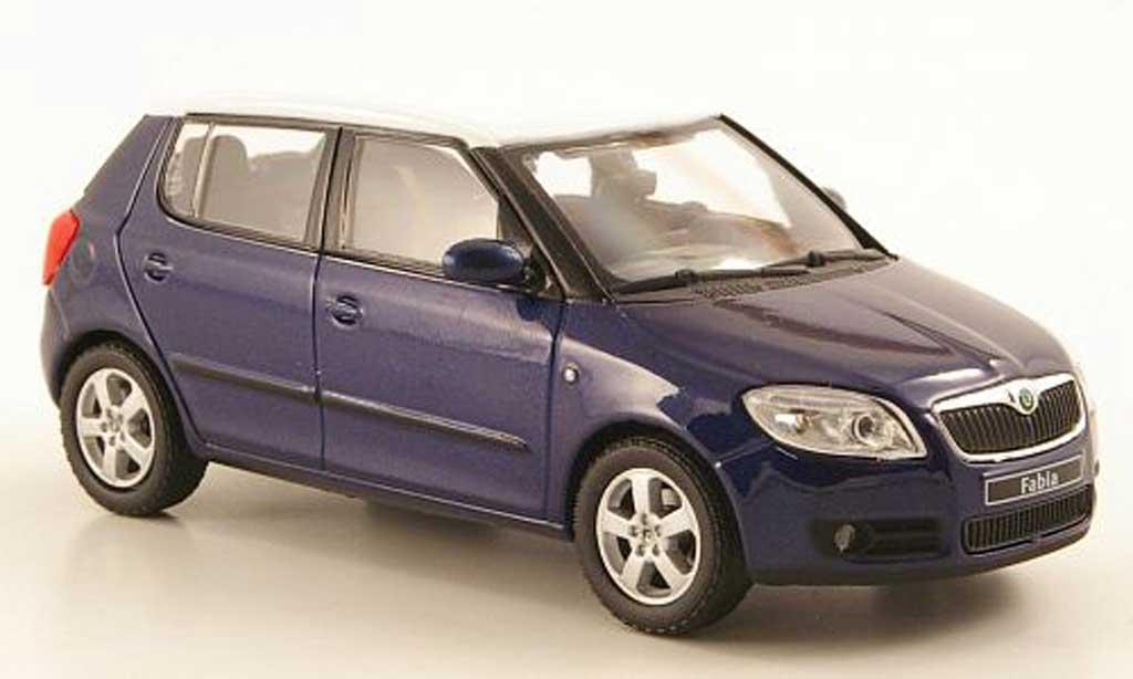 Skoda Fabia II 1/43 Abrex bleu avec blancheem Dach 2006 miniature