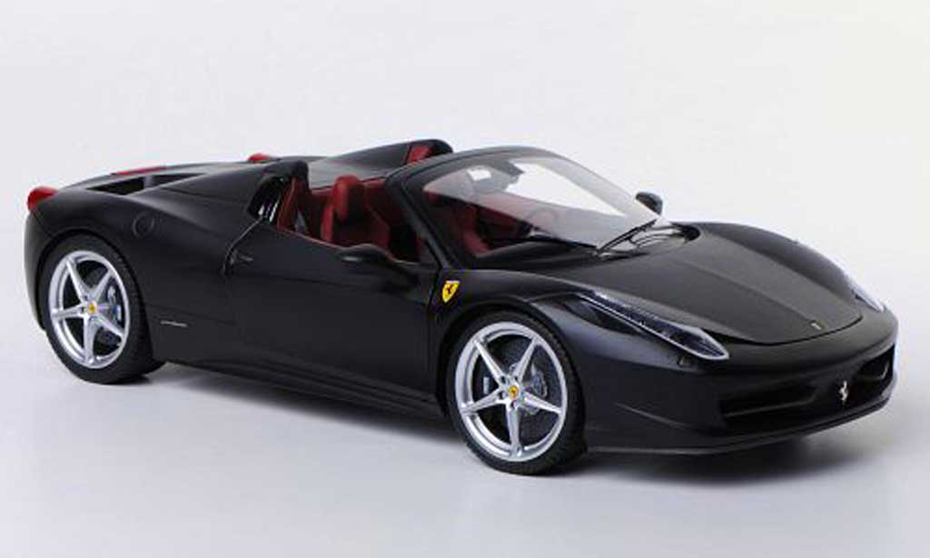 Ferrari 458 Italia Spider 1/18 Hot Wheels Elite matt noire miniature